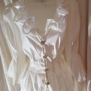 Chetta B Tops - Chetta B Ruffled Collar Blouse w/Rhinstone Buttons